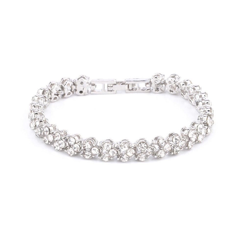 Ruoling AAA Cubic Zircon Tennis Bracelet Shining Crystal Link Hand Chain for Women (Silver)