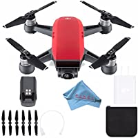 DJI Spark Quadcopter (Lava Red) CP.PT.000735 + Fibercloth Bundle (White Box)