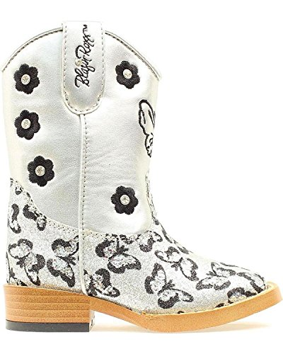 Blazin Roxx Toddler-Girls' Pecos Glitter Zipper Cowgirl Boot Square Toe Silver 6 D(M) US
