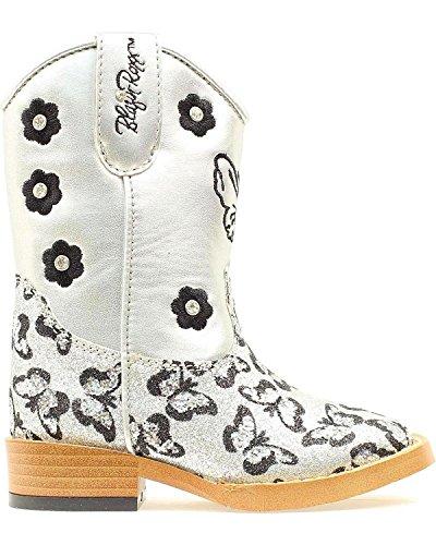Blazin Roxx Toddler-Girls' Pecos Glitter Zipper Cowgirl Boot Square Toe Silver 6 D(M) US