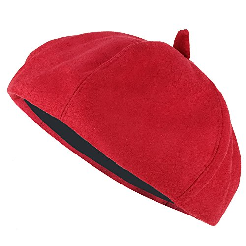 Stylish Solid Color Faux Suede French Style Beret Hat - RED