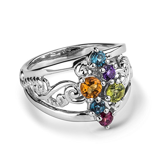 (Carolyn Pollack Sterling Silver Multi Faceted Gemstone Cluster Ring Size)