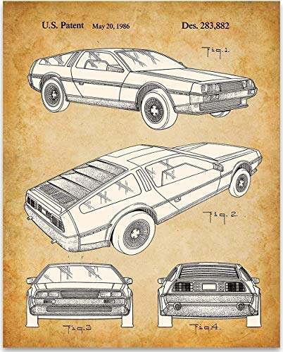 (DeLorean DMC-12-11x14 Unframed Patent Print - Great Garage Decor or Gift Under $15 for Back to the Future Fans)
