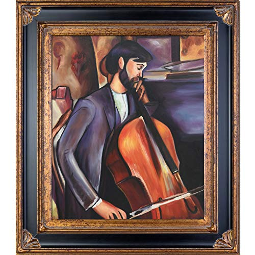 - overstockArt The Cellist Framed Oil Reproduction of an Original Painting by Amedeo Modigliani, Corinthian Frame, Black and Gold Finish