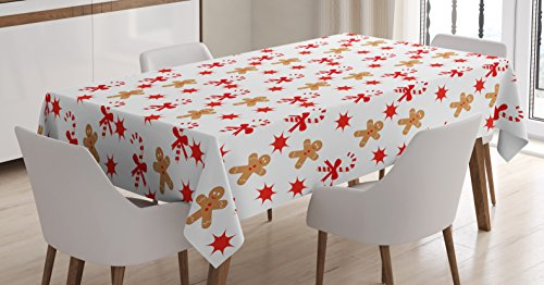 Ambesonne Gingerbread Man Tablecloth, Candy Cane with Bowties Red Star Figures Gingerbread Man Pattern, Dining Room Kitchen Rectangular Table Cover, 60 W X 84 L Inches, Sand Brown Orange