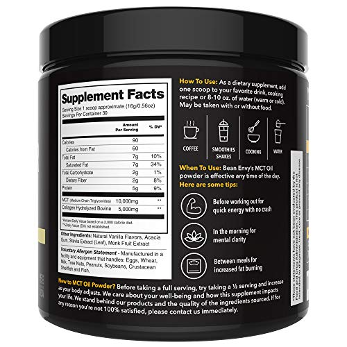 MCT Oil Powder + Collagen + Prebiotic Acacia Fiber - 100% Pure MCT's - Perfect for Keto - Energy Boost - Nutrient Absorption - Healthy Gut Support - Vanilla by Bean Envy (Image #2)