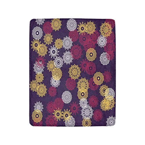 InterestPrint Cute Ethnic Mandalas Pattern with Round Lacy Medallions in Aztec Fleece Luxury Blanket Throw Lightweight Cozy Plush Throw Blanket 40 x 50 Inches
