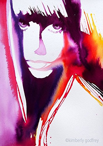 Jane Birkin Fashion Illustration Original Painting Portrait Colorful Ink Salon Decor Bright (Color Brights Ink)