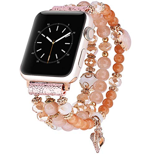 - TOROTOP Bracelet Compatible for Apple Watch Band 40mm/38mm Women Girl, Handmade Fashion Elastic Beaded with Rose Gold Stainless Steel Adapter Strap Compatible for iWatch Series 4/3/2/1 38mm 40mm Band