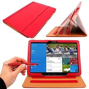 """DURAGADGET-Funda blanda de piel sintética color rojo con soporte para tablet Samsung Galaxy NotePRO 12,2 """"Wi-Fi, 3 g 4 g/LTE, SM-P900 (& SM-P905), Android 4,4 KitKat y Wi-Fi incluye lápiz capacitivo y bolígrafo 2 en 1 de color rojo, negro, 5 años de garantía"""