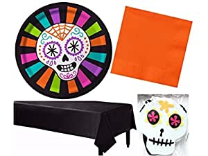 Dia De Los Muertos Day of the Dead Colorful Sugar Skull Halloween Party Kit Including Plates Napkins Banner & Tablecover for 24 Guests