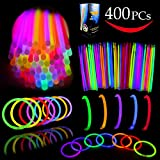 Joyin Toy Glow Sticks Bulk 400 8'' Glowsticks (Total 800 Pcs 7 Colors); Glow Stick Bracelets; Glow Necklaces Party Favors Pack with 400 Bracelet Connectors.