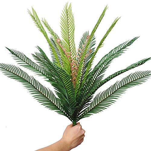 (Artificial Palm Leaves Plants 17pcs Leaves Tropical Greenery Bush Imitation Faux Fake Palm Tree Leaf for Home Kitchen Party Flowers Arrangement Wedding Decorations)