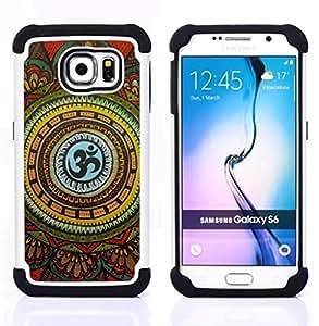 """Pulsar ( Patrón Folclórico Nacional Símbolo floral"""" ) Samsung Galaxy S6 / SM-G920 SM-G920 híbrida Heavy Duty Impact pesado deber de protección a los choques caso Carcasa de parachoques [Ne"""
