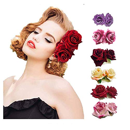 Ever Fairy Rose Flower Hair Clip Slide Flamenco Dancer Pin Flower Brooch Lady Hair Styling Clip Hair Accessories (6 Colors pack) ()