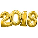 """2018"" Mirror Mylar Balloons For New Year Eve Party Decorations 40'' (Gold-2018)"
