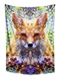 Divine Fox Tapestry- Orange Green Wall Decor- Animal Wall Art- Psychedelic Geometry Design- Bedroom, Dorm, Home Wall Hang- Premium Large Tapestry 48x72 Inches