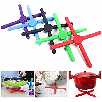 Yaheetech Colorful Non-slip Kitchen Foldable Silicone Trivets Pot Holder, Hot Pad, Pot Holder-expandable/collapsible (pack of 5)