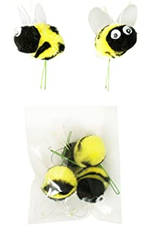 Pompom Bumble Bees Blackyellow W Googly Eyes Craft Spring Easter Floral Picks 6 Pkg