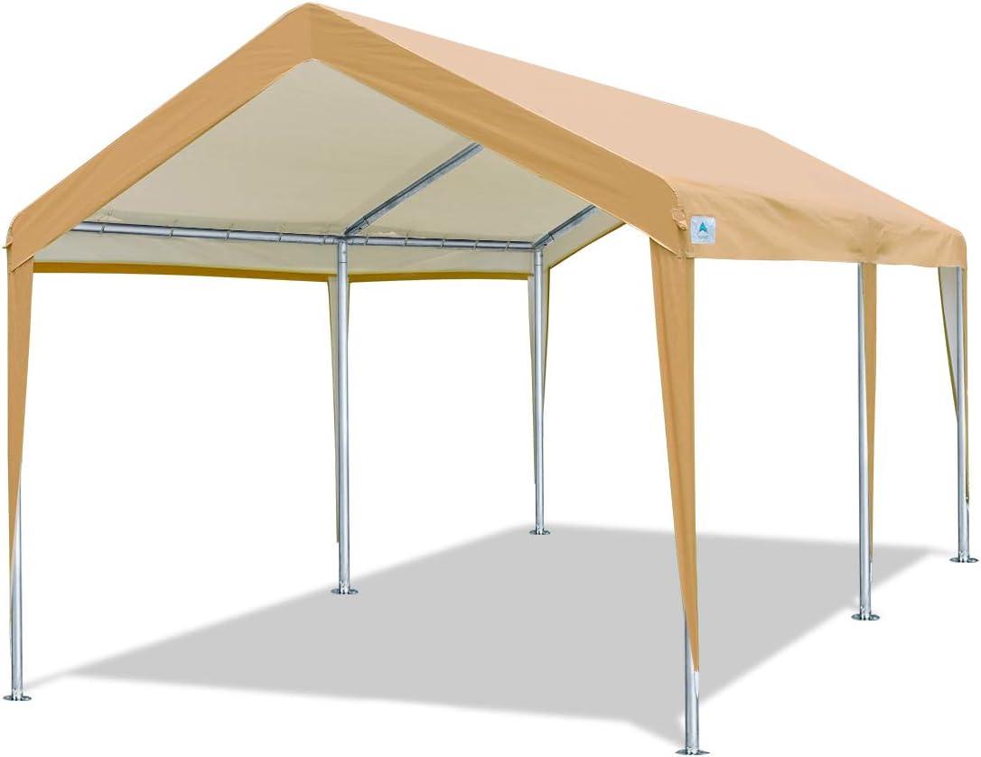 ADVANCE OUTDOOR Tienda de campaña Resistente para cochera o Garaje con piquetas de Acero y Anclajes 10 x 20 pies