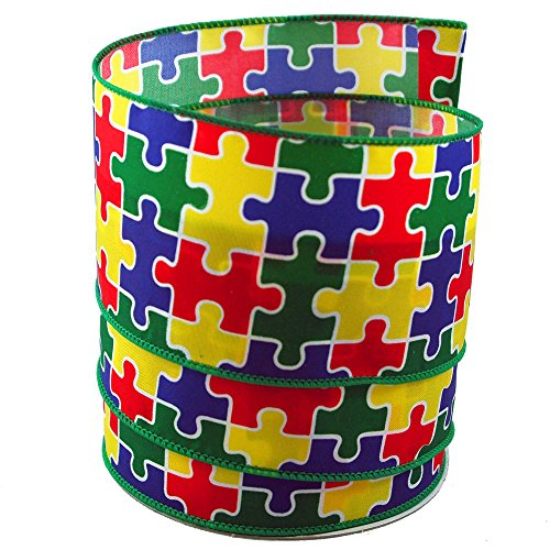 Autism Awareness Puzzle Satin Wired Ribbon #40-2.5in x (Autism Awareness Puzzle Ribbon)