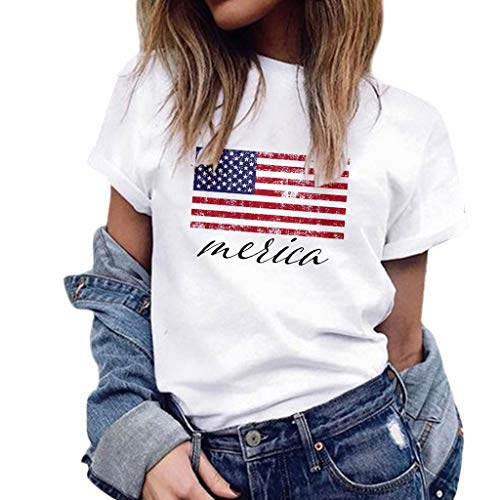 WUAI 4th of July T-Shirts Plus Size,Unisex USA American Flag Short-Sleeved Patriot Shirts Tops Blouse(White,XXX-Large)
