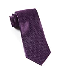 The Tie Bar 100% Woven Silk Solid Herringbone Eggplant Purple Tie