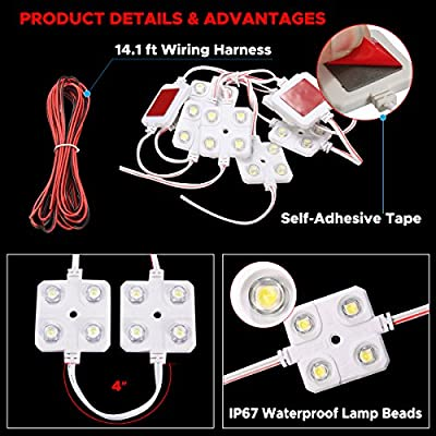 AUDEW 40 Led White Interior Lights Kit,12V LED Ceiling Lights Kit For LWB Van Trailer Lorries Sprinter Ducato Transit Boats VW: Automotive