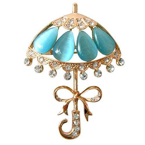 Beautiful Pin (Navachi 18k Gold Plated Blue Created-Opal Crystal Umbrella Az7932 Brooch pins)