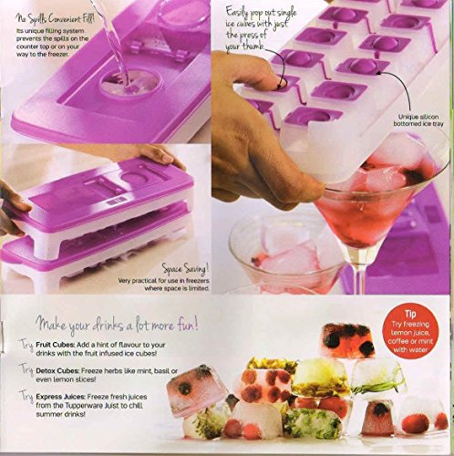 4 X New Tupperware Cool Ice Cube Plastic Tray with Opening Lid Contain 14 Cubes - -