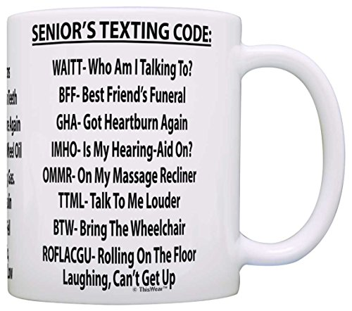 Senior's Texting Code Funny Coffee Mug
