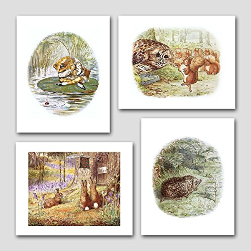 (Set of 4) Nursery Art (Baby Wall Decor, Beatrix Potter Kid Prints)