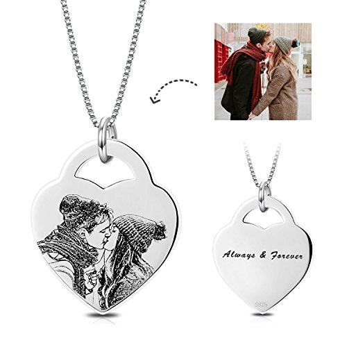 LONAGO Personalized Photo Necklace Sterling Silver Heart Custom Pendant Engraved Any Name Word (Heart-Sterling Silver, 16.00)