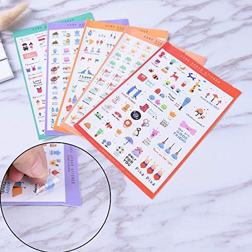 - 5pcs/Set Stickers Cute Korea PVC Transparent Flake Seal Cards for Scrapbooking DIY Diary Calendar Notebook Label Stationery