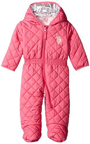 U.S. Polo Assn. Baby-Girls Diamond Quilt Puffer Pram, Pink Moon, 3-6 Months
