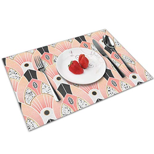 Luase Blush Deco Table Placemats for Dining Table,Washable Placemat Heat-Resistant Set of 6(12X18 inch)
