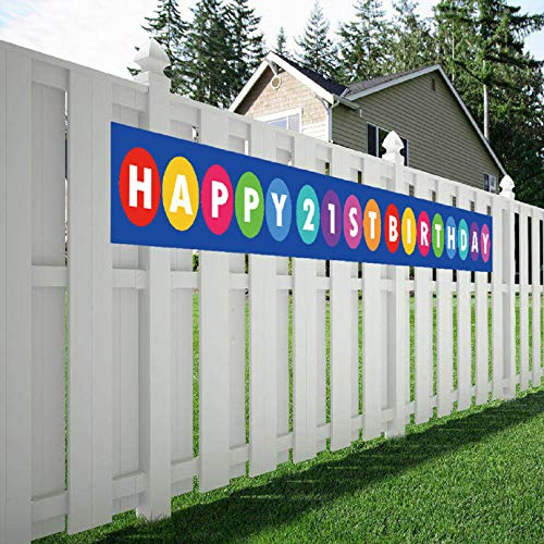 Happy 21st Birthday Banner, 21 Birthday Party Sign Supplies Decorations ()