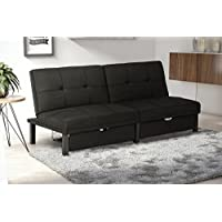 DHP Premium Skye Sofa Futon, Space Saving Storage Drawers and Rich Black Linen Fabric. Modern Design