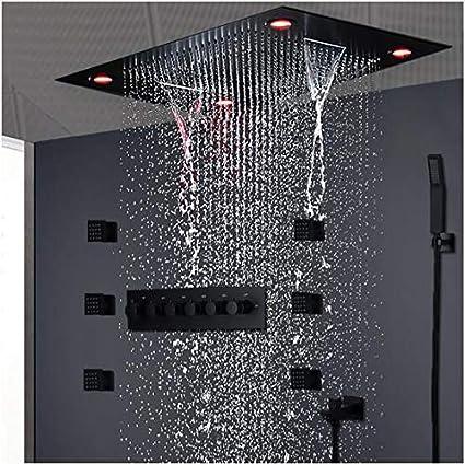 Nero A Momyeah soffione docciaSoffione a pioggia Nero Soffione Rettangolare Soffione doccia Soffione a pioggia Testata con soffione multifunzione