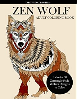 zen wolf coloring book for adults zentangle style wolves designs adult coloring books animals - Wolf Coloring Book