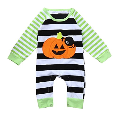KaiCran Clothing Baby Girl Romper,Newborn Baby Girl Boy Long Sleeve Halloween Bodysuit Striped Spider Pumpkin Romper Jumpsuit Outfits (Green, 70(0-3 Mons))]()