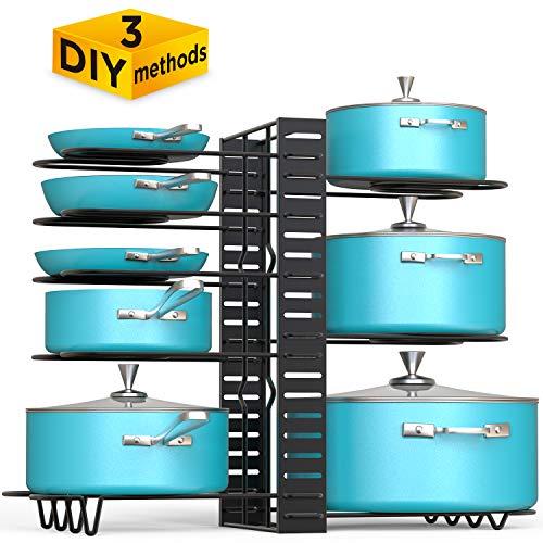 (VDOMUS Pan Organizer Rack with 3 DIY Methods, Height Adjustable Kitchen Pan and pot Lid Holder (Black))