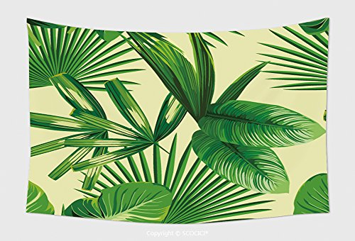 Home Decor Tapestry Wall Hanging Tropic Print Summer Exotic Jungle Plant Tropical Palm Leaf And Branch. Pattern, Seamless Floral Vector On Yellow Green Background. Nature Flower Wallpaper for Bedroom