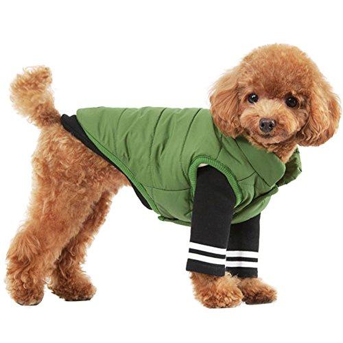 Yoyoshop 견복 애완동물복 양복 파커 재킷 베스트 도그 웨어 동복 군대 그린 S