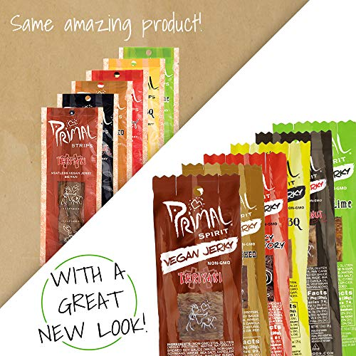 Primal Spirit Vegan Jerky - Our Sampler Pack, 10g. Plant Based Protein, Certified Non-GMO (''The Classics'' Thai Peanut, Mesquite Lime, Teriyaki, Hot & Spicy, Hickory Smoked, & Texas BBQ, 12-Pack, 1 oz) by Primal Spirit Foods (Image #6)
