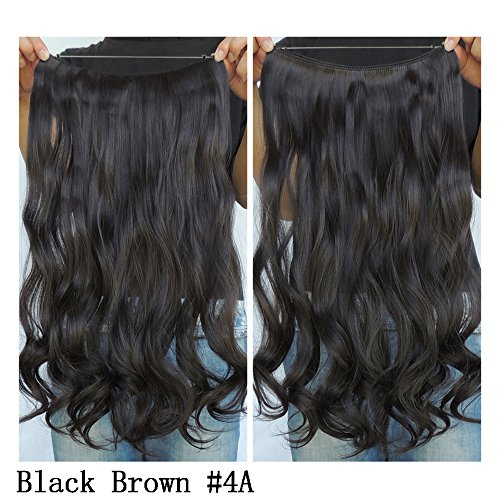 "Secret Halo Hair Extensions Flip in Curly Wavy Hair Extension Synthetic Women Hairpieces 20"" (Black Brown #4A)"