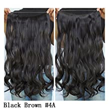"""Secret Halo Hair Extensions Flip in Curly Wavy Hair Extension Synthetic Women Hairpieces 20"""" (Black Brown #4A)"""
