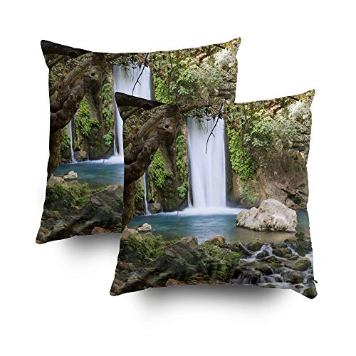 (TOMWISH 2 Packs Hidden Zippered 18X18Inch Waterfall Stream River Nature Reserve in The North Jordan Hermon Israel Decorative Throw Cotton Pillow Case Cushion Cover for Home)