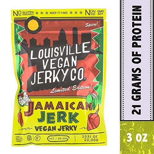 Louisville Vegan Jerky - Limited Edition Jamaican Jerk! - Non-GMO Soy Protein - Gluten-Free Ingredients (3 Ounce)