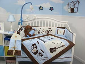 SoHo Blue and Brown Rock Band Baby Crib Nursery Bedding Set 13 pcs included Diaper Bag with Changing Pad & Bottle Case from SoHo Designs